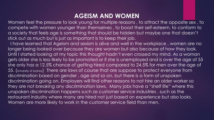 AGEISM AND WOMEN