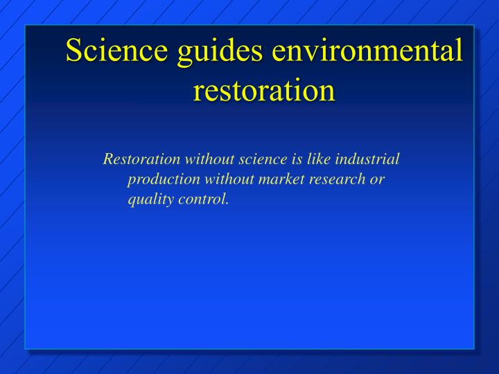 Science guides environmental restoration