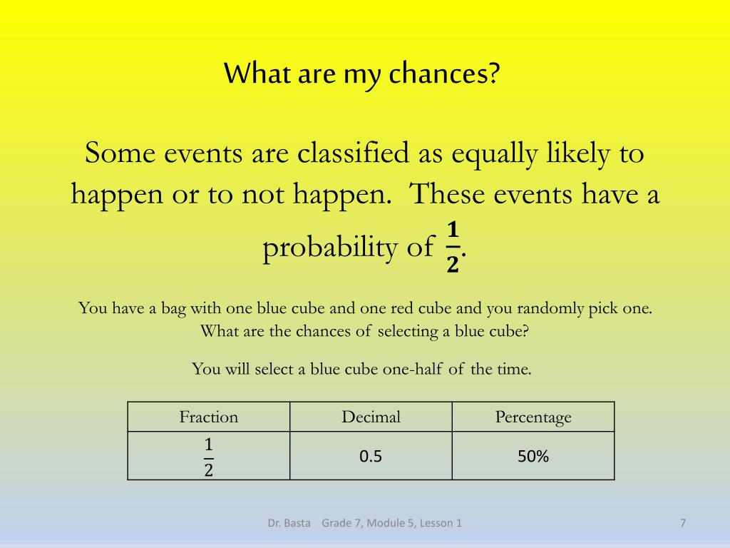PPT - 1: Chance Experiments PowerPoint Presentation - ID:2524706