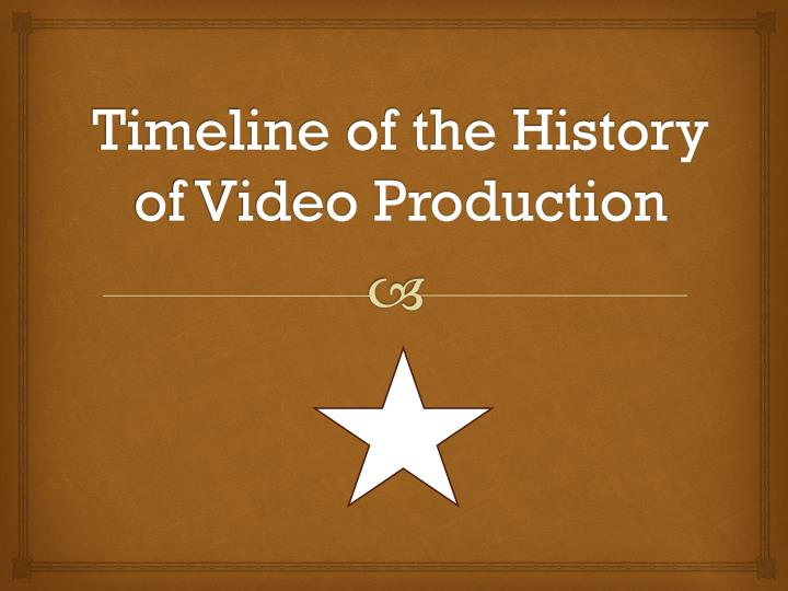 timeline of the history of video production n.