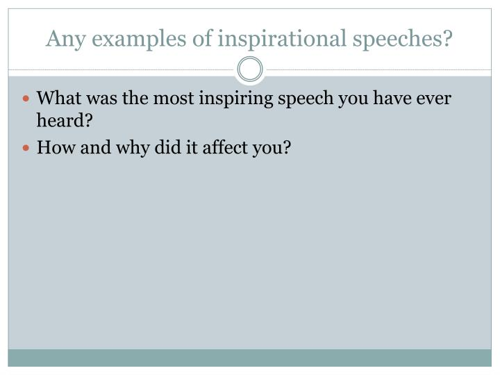 Any examples of inspirational speeches
