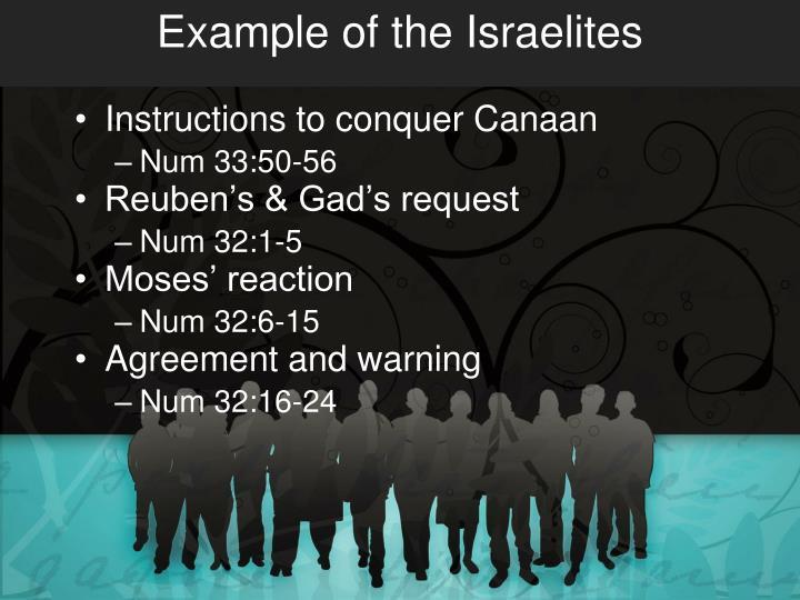 Example of the Israelites
