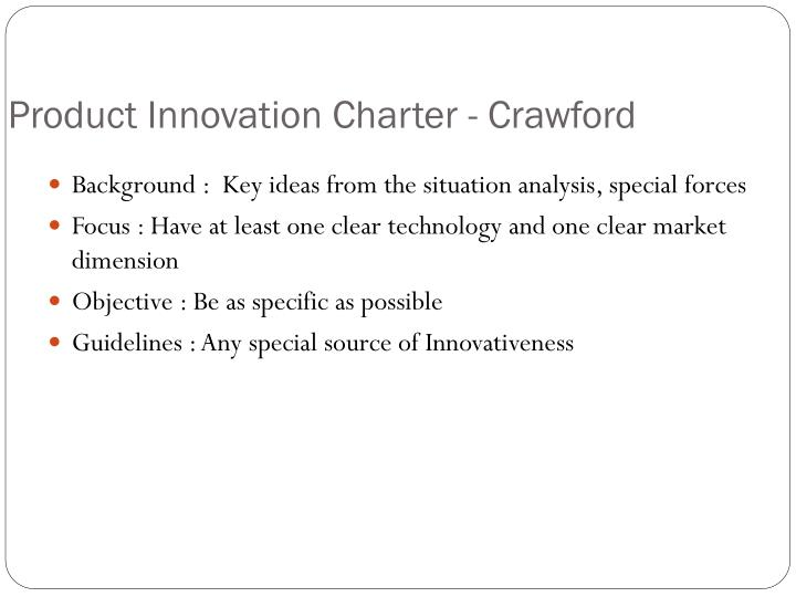 report on product innovation charter of Product innovation• product design is normally the first step immediately after accepting the concept of the product• product design has direct impact over selection of processing equiments & methods, plant layout and in- process material flows.