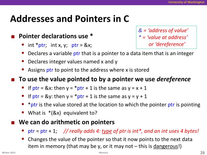 Addresses and Pointers in C