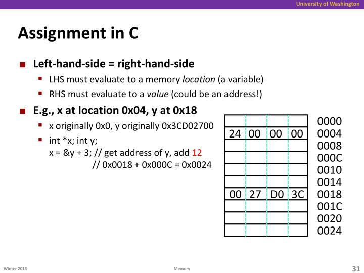 Assignment in C