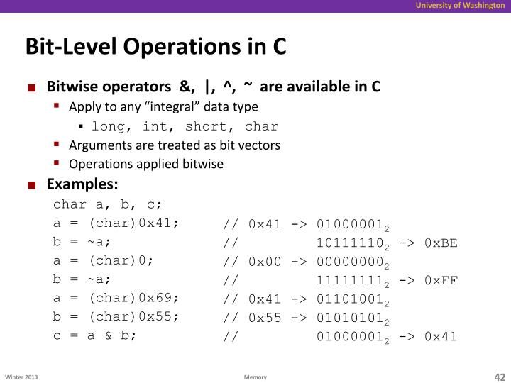Bit-Level Operations in C