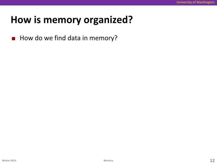 How is memory organized?