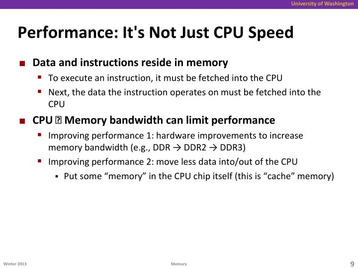 Performance: It's Not Just CPU Speed