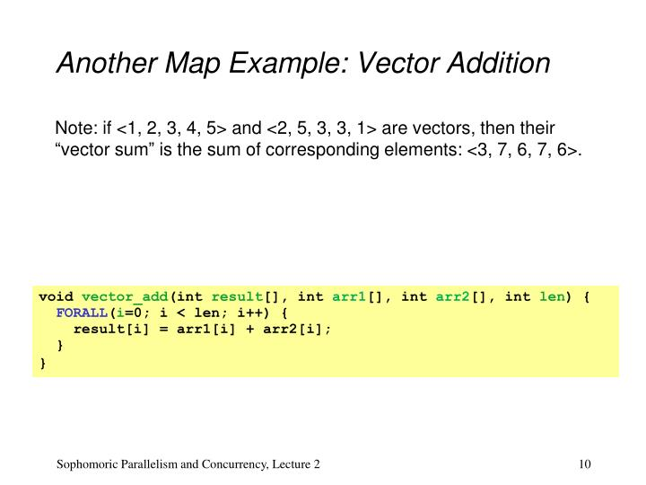 Another Map Example: Vector Addition