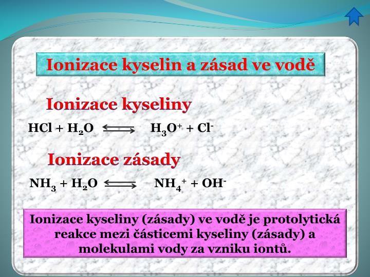 Ionizace kyselin a zásad ve vodě