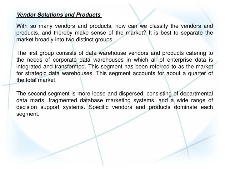 Vendor Solutions and Products