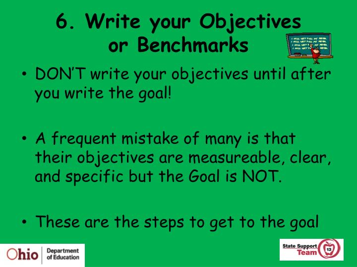 6. Write your Objectives