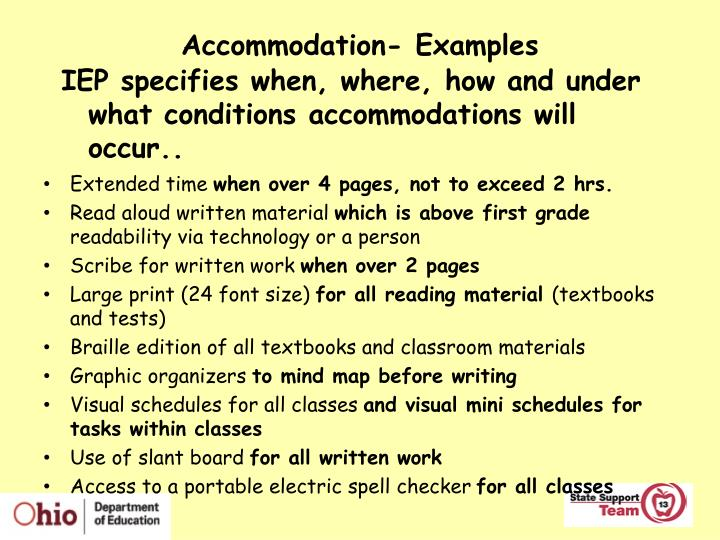 Accommodation- Examples