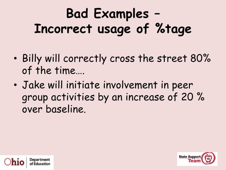 Bad Examples –
