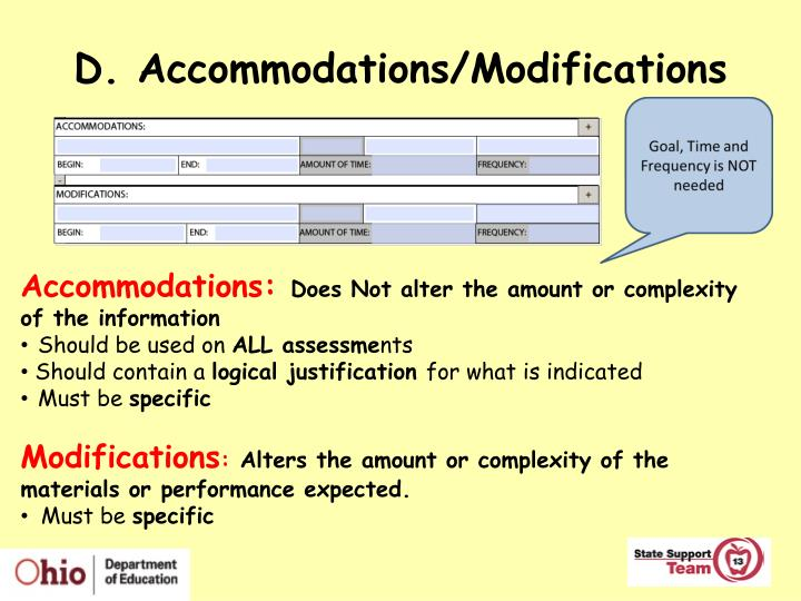 D. Accommodations/Modifications