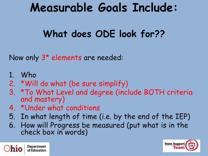 Measurable Goals Include: