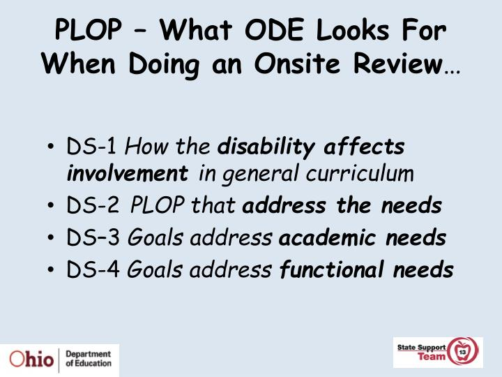 PLOP – What ODE Looks For When Doing an Onsite Review