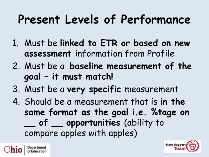 Present Levels of Performance