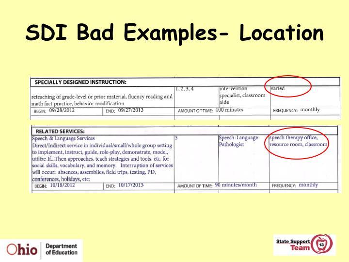 SDI Bad Examples- Location