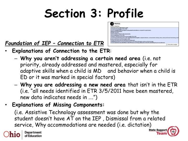 Section 3: Profile