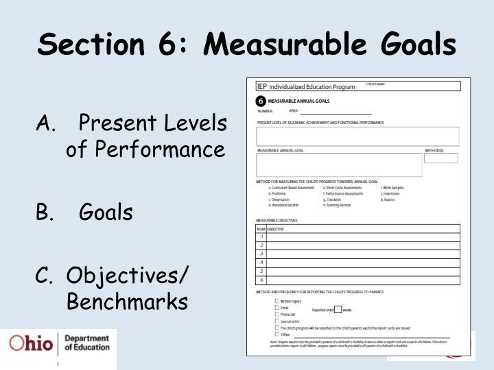 Section 6: Measurable Goals