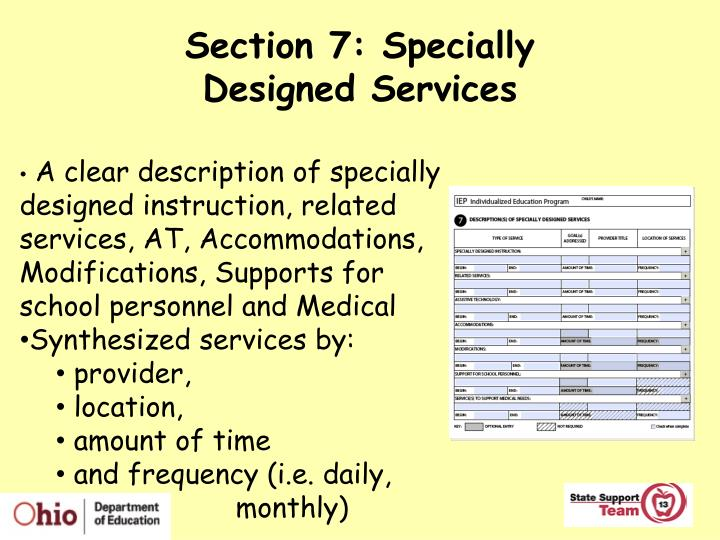 Section 7: Specially
