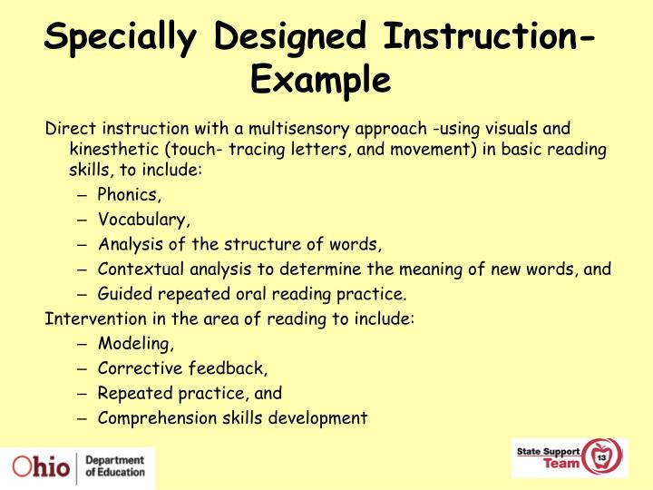Specially Designed Instruction- Example