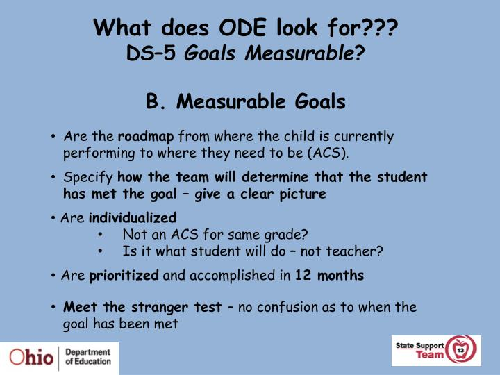What does ODE look for???