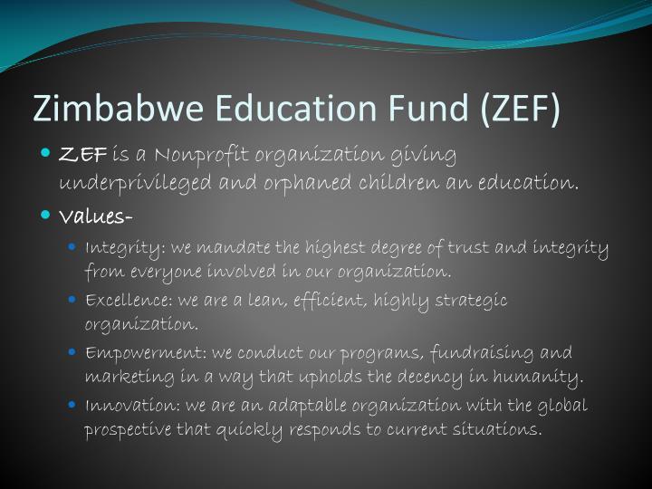 Zimbabwe education fund zef