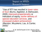 impact on sped r esearch support