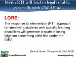 myth rti will lead to legal trouble especially with child find