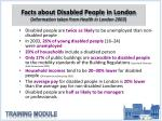 facts about disabled people in london information taken from health in london 2003