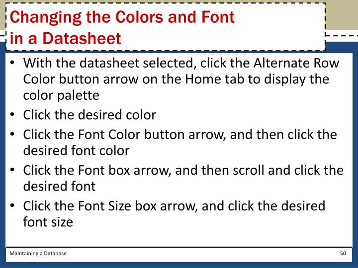 Changing the Colors and Font