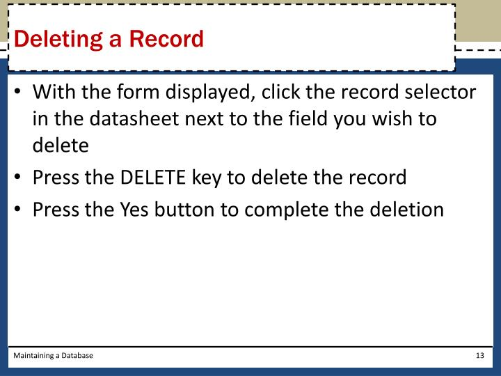 Deleting a Record
