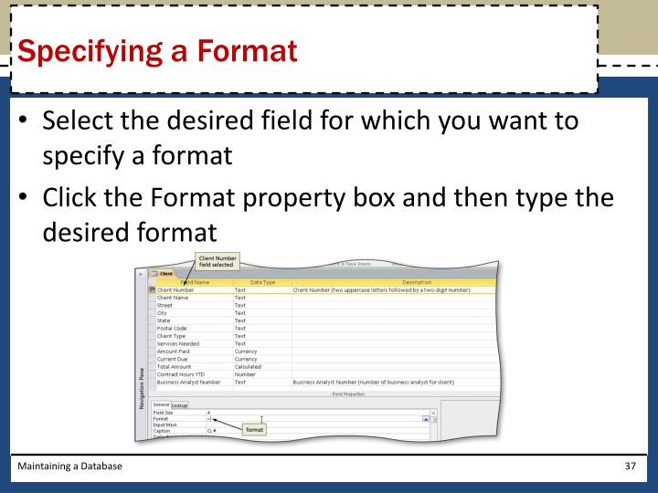 Specifying a Format