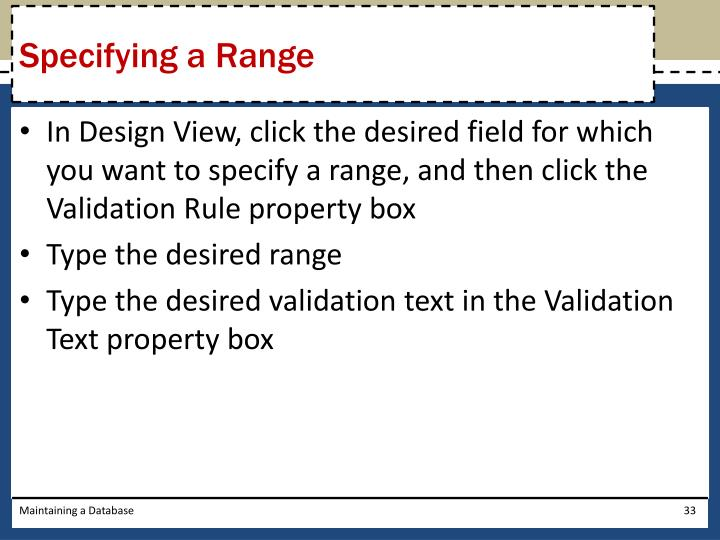 Specifying a Range