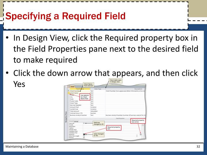 Specifying a Required Field