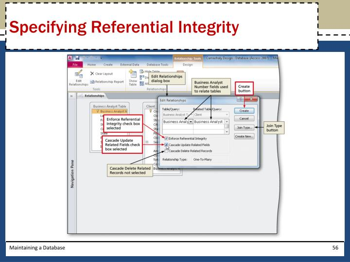 Specifying Referential Integrity