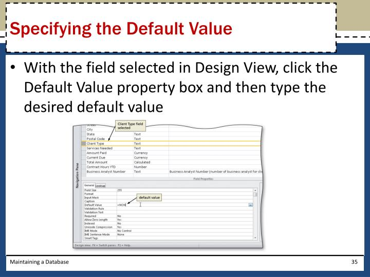Specifying the Default Value