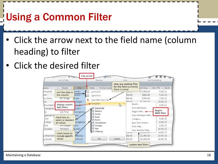 Using a Common Filter