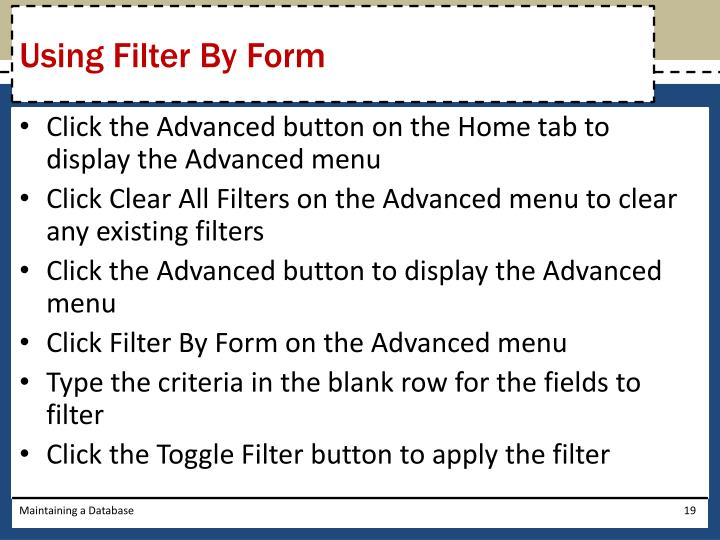Using Filter By Form