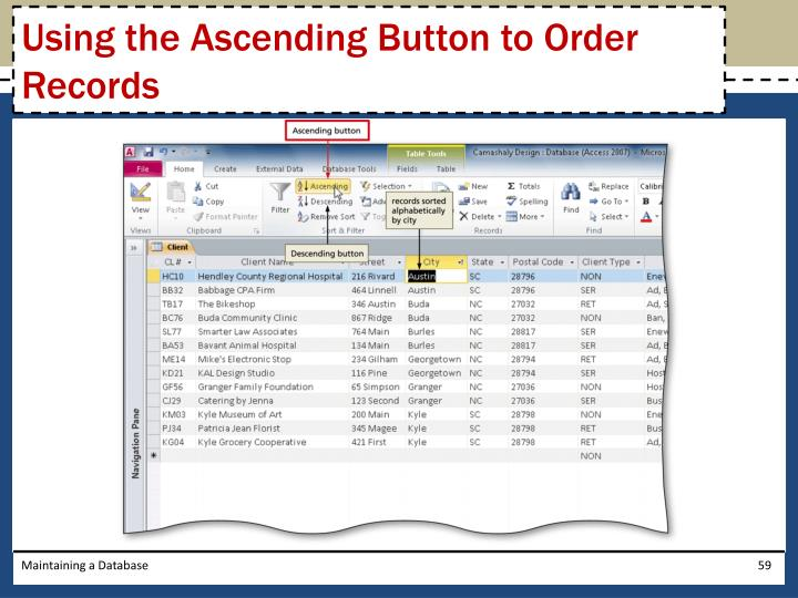 Using the Ascending Button to Order Records