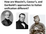 how are mazzini s cavour s and garibaldi s approaches to italian unification different