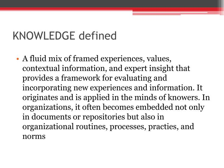 KNOWLEDGE defined