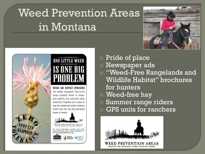 Weed Prevention Areas in Montana