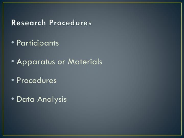 Research Procedures