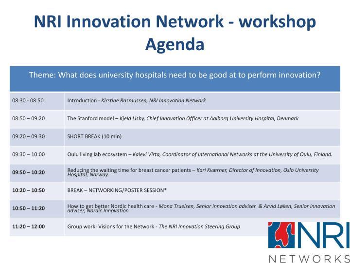 Nri innovation network workshop agenda