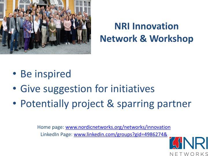 NRI Innovation Network & Workshop