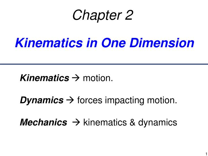 kinematics in one dimension n.