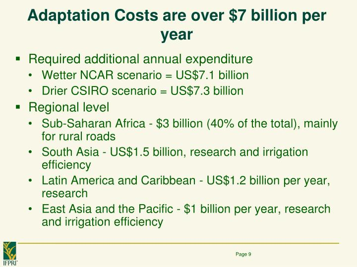 Adaptation Costs are over $7 billion per year